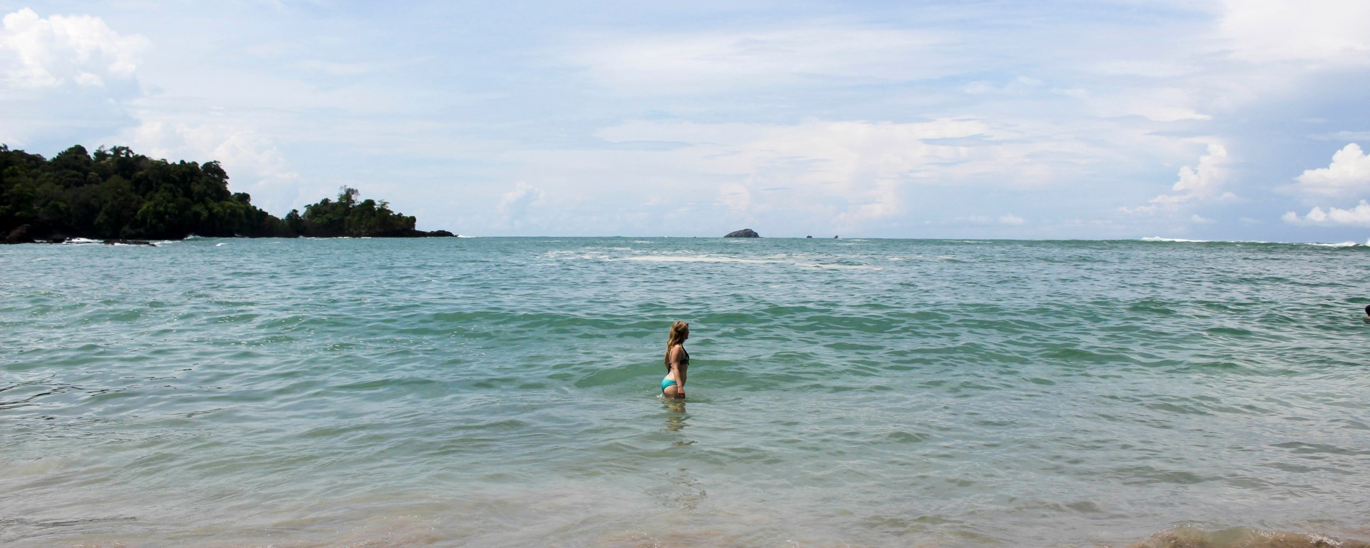 Nicola in the sea at the beach in Manuel Antonio National Park