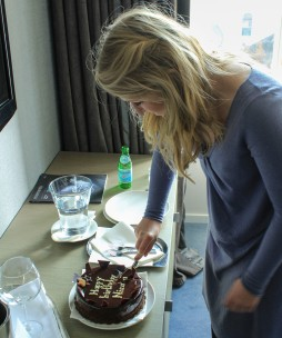 Nicola cuts her cake, handmade by the hotel chef