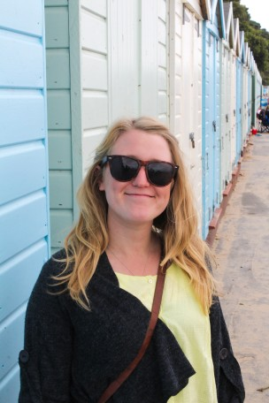 Nicola in front of the beach huts at Avon Beach