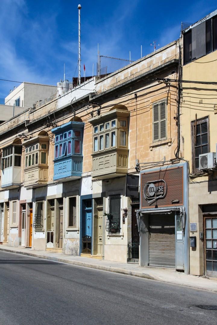 Maltese house balconies in Balzan, Valletta, Malta