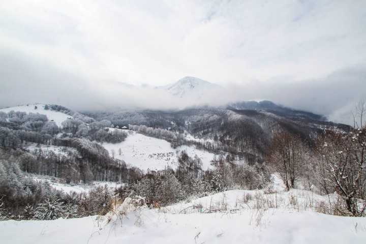 Snowy mountains on the road from Prizren, Kosovo