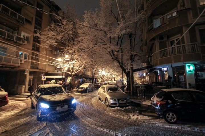 Snowy street of Debaar Malo, Skopje, Macedonia