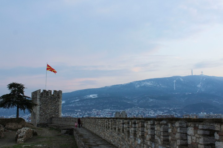 The Millennium Cross and Kale Fortress, Skopje, Macedonia