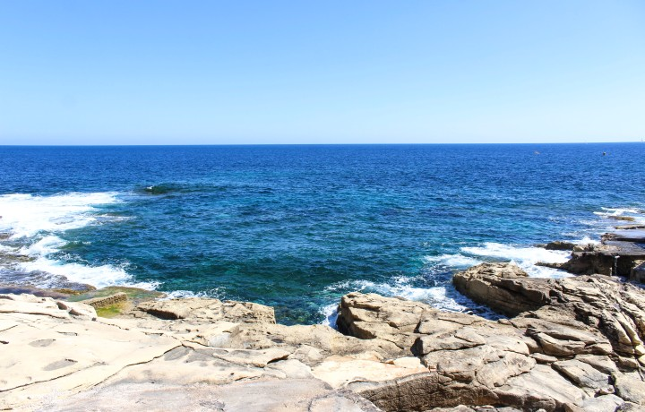 The sea off the coast of Sliema, Valletta, Malta