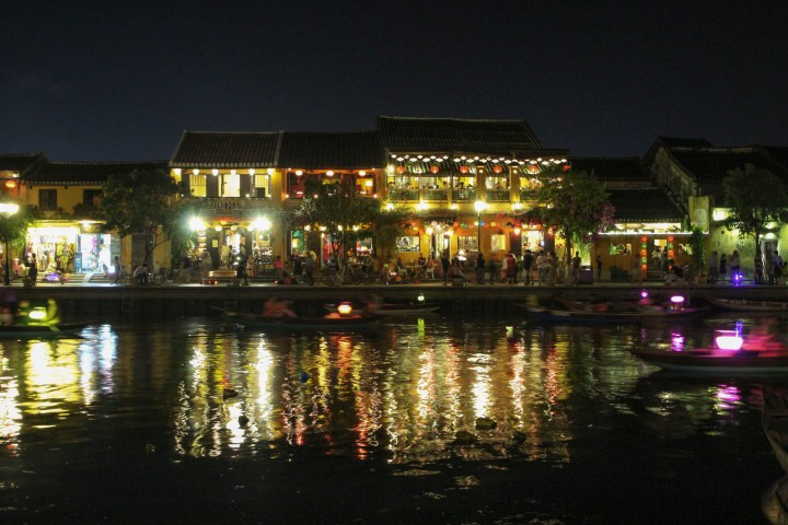 Boats on the river at night, Hoi An, Vietnam