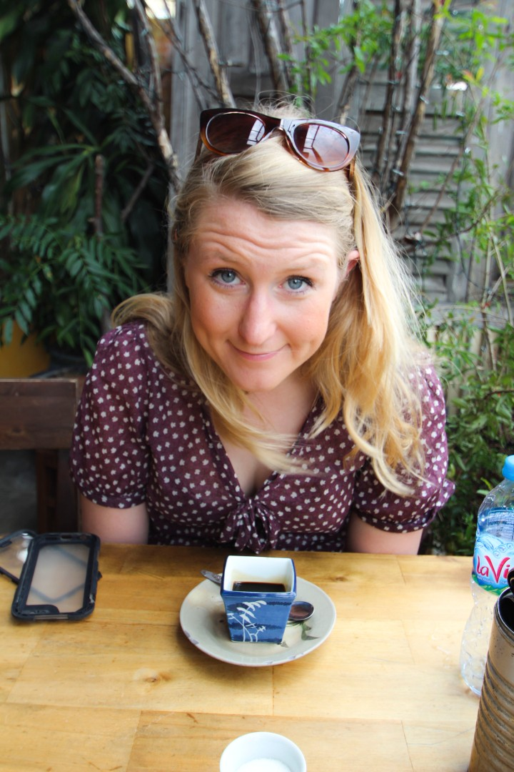 Nicola and her coffee at the Secret Garden Restaurant, Ho Chi Minh, Vietnam