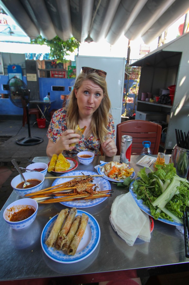 Nicola eating at Bale Well, Hoi An, Vietnam