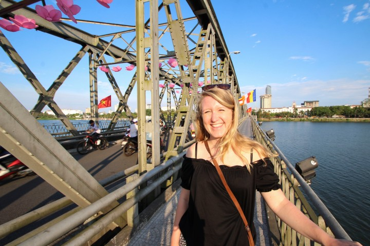 Nicola on the bridge over the Perfume River, Hue, Vietnam