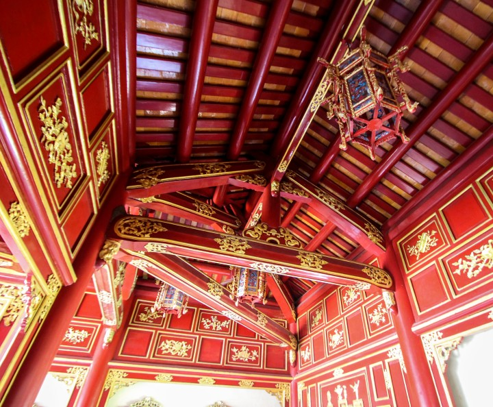 Red lacquer in the Imperial Palace, Hue, Vietnam