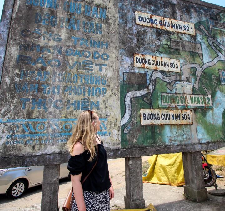 Sign on the Hai Van Pass, Vietnam