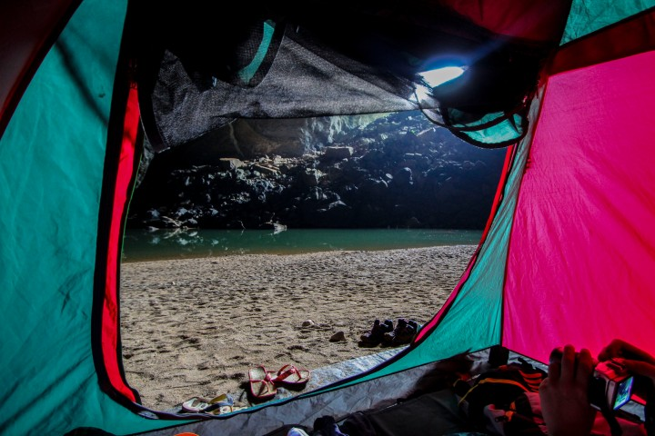The view from our tent, Hang En Cave, Vietnam