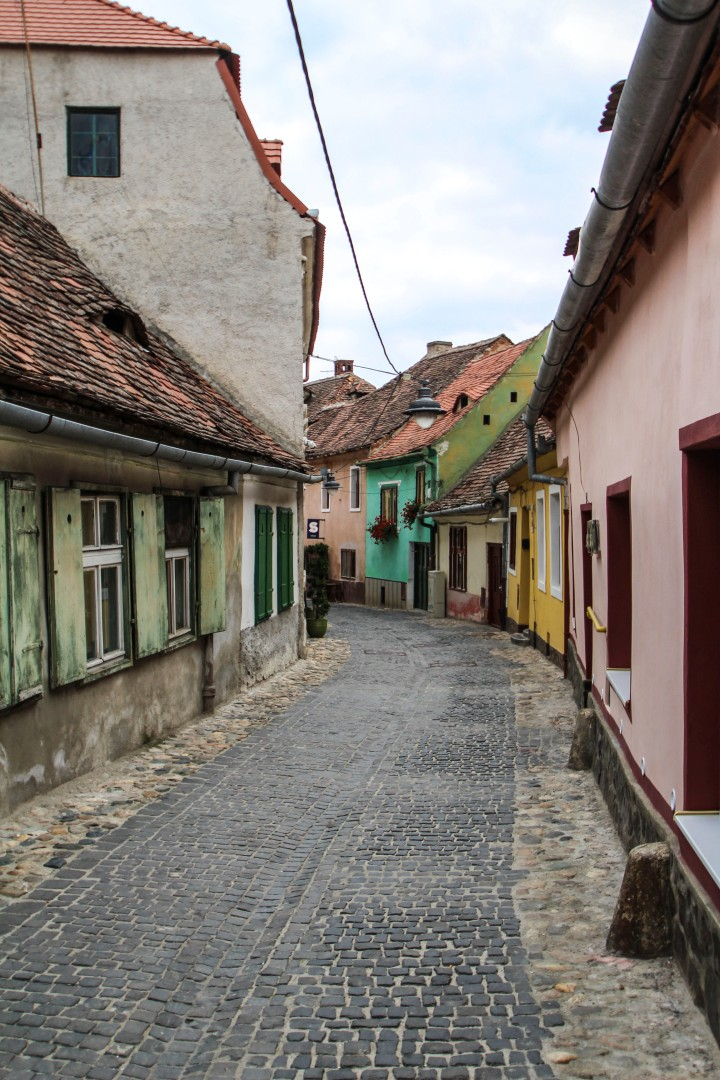 Cobbled street in Sibiu, Romania
