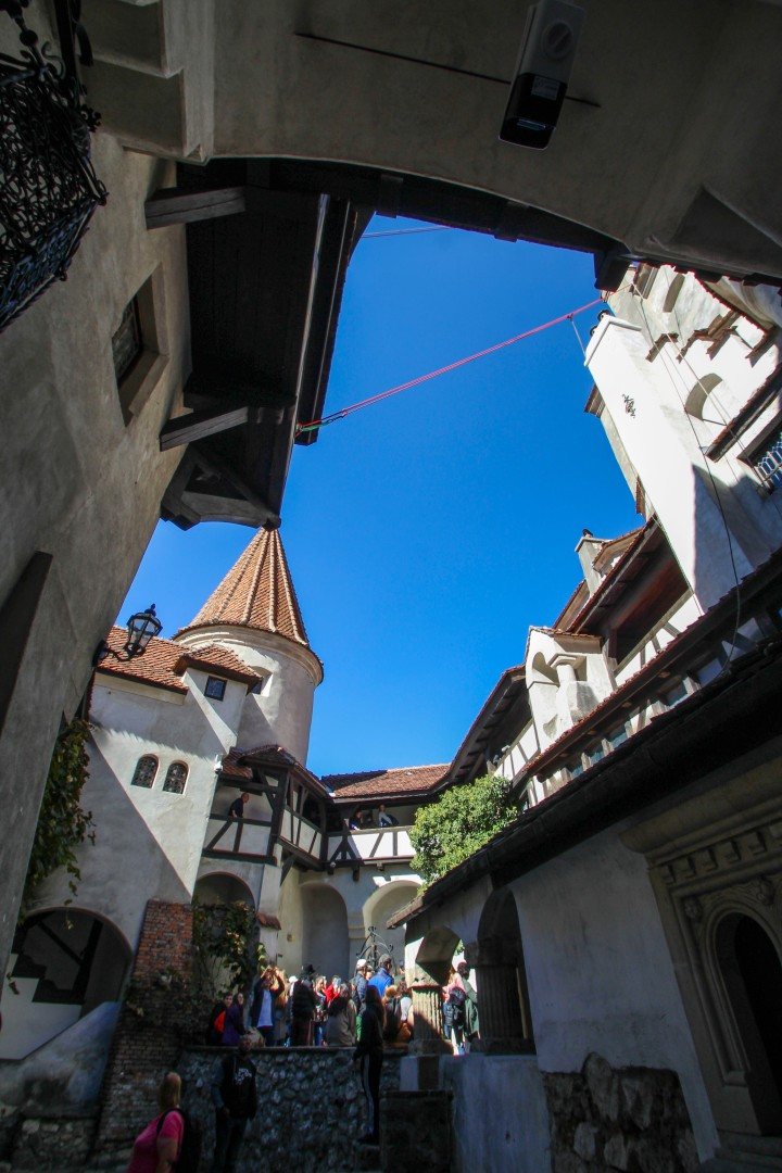 The inside courtyard at Bran Castle, Romania