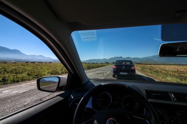 Traffic on the way to Bran, Romania