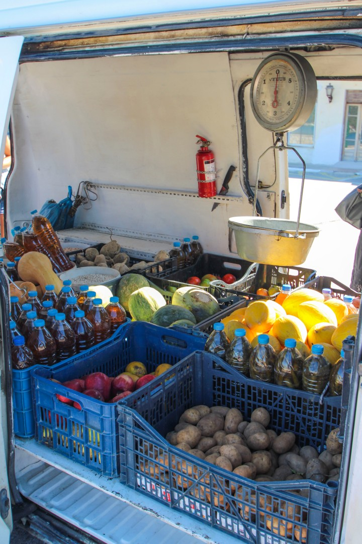 A fruit and veg van in Vathy, Ithaca, Greece
