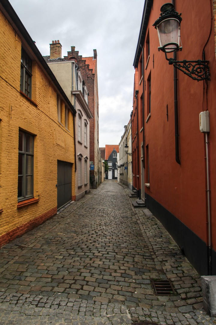 A cobbled street, Bruges, Belgium