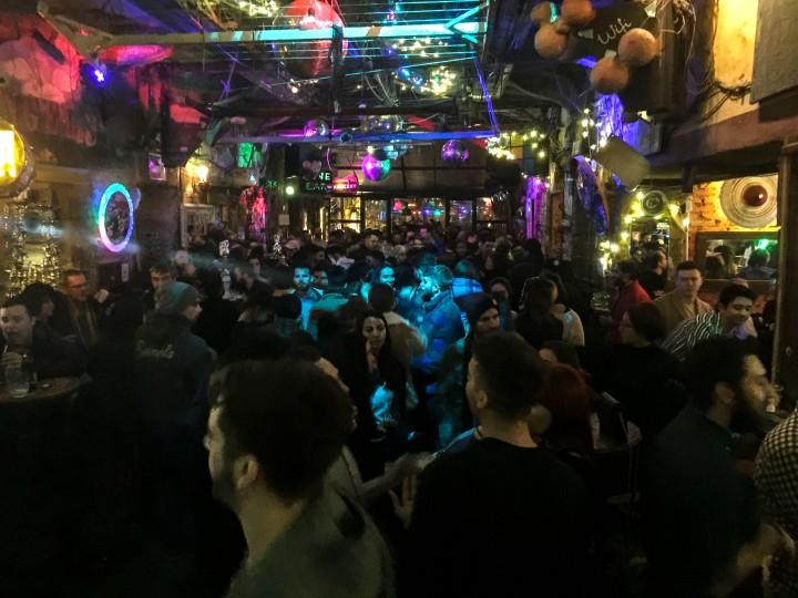 Inside Szimpla Kert ruin bar, Budapest, Hungary