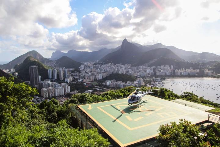 A helipad on Sugarloaf Mountain, Rio de Janeiro, Brazil