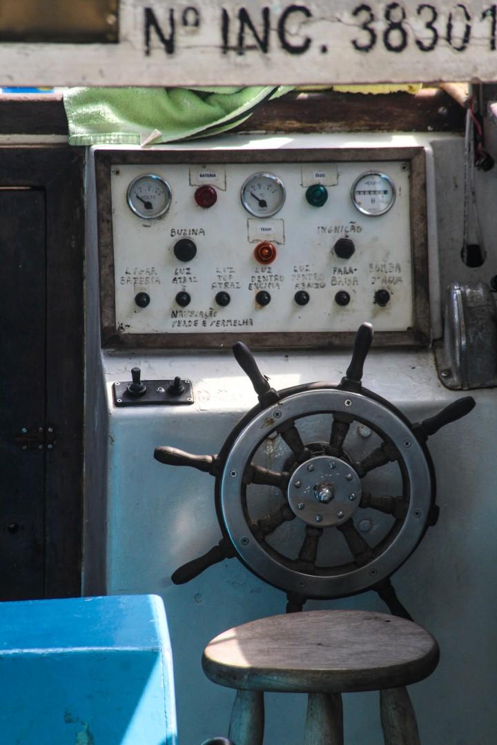Boat controls in Ilha Grande, Rio de Janeiro, Brazil