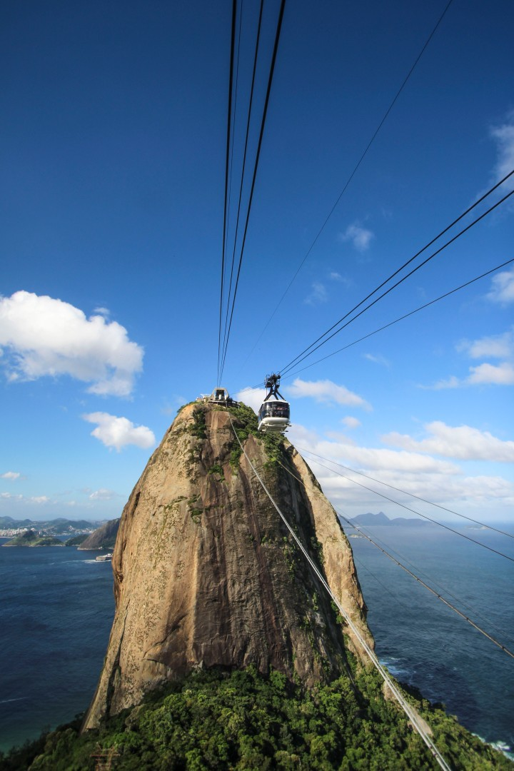 Getting the cable car from Sugarloaf Mountain, Rio de Janeiro, Brazil