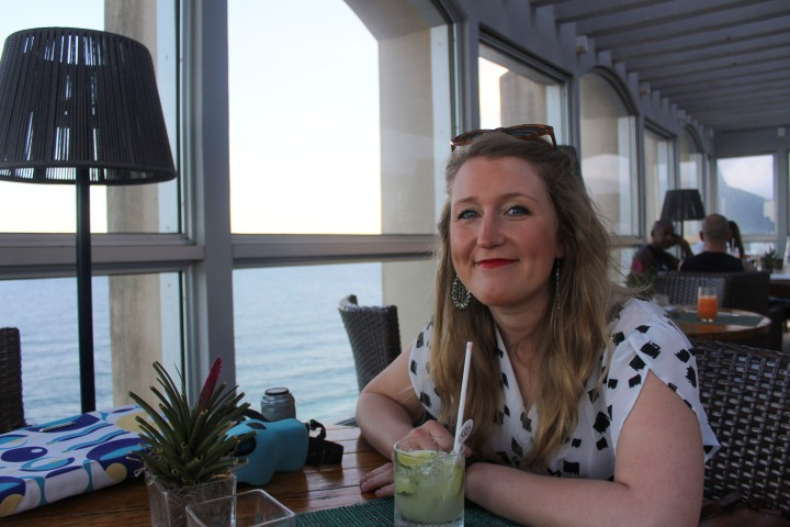 My wife having a cocktail at the top of the Sofitel, Ipanema, Rio de Janeiro, Brazil