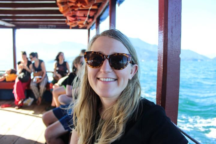 Nicola on the boat to Ilha Grande, Rio de Janeiro, Brazil