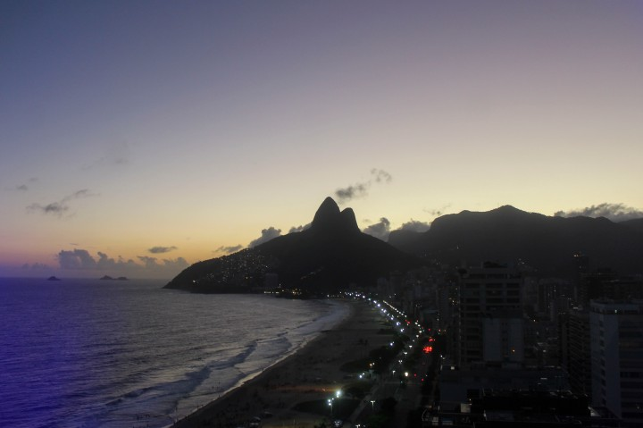 Sunset over Ipanema Beach, Rio de Janeiro, Brazil