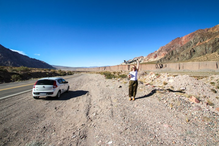 Nicola and the car, Mendoza, Argentina