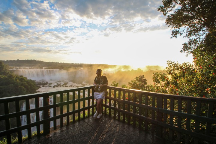 Nicola at sunset over the falls, Foz do Iguaçu, Brazil