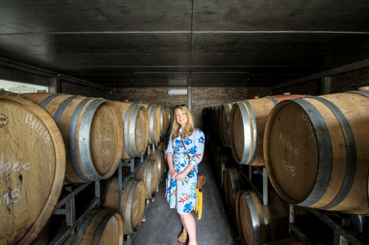 Nicola with barrels at Carinae winery, Mendoza