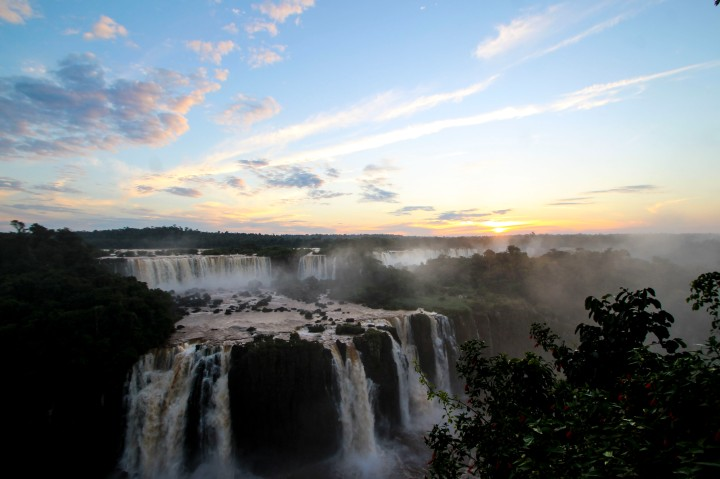 Sunset by the falls, Foz do Iguaçu, Brazil
