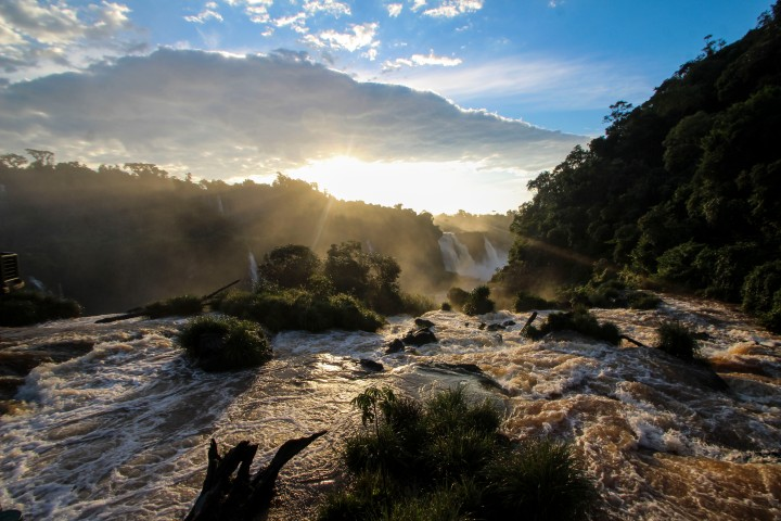 Sunset over the falls, Foz do Iguaçu, Brazil