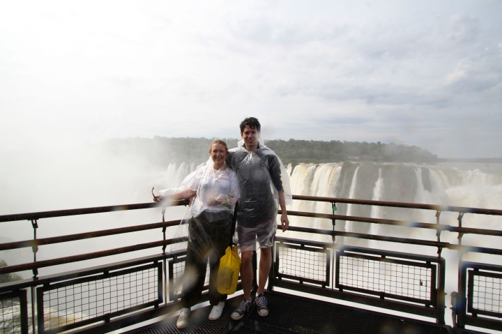 The happy couple at the falls, Foz do Iguaçu, Brazil
