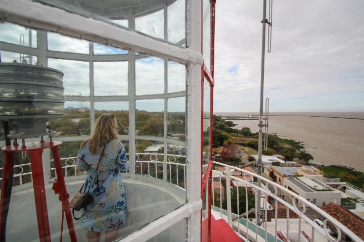 Nicola at the top of the lighthouse, Colonia del Sacramento, Uruguay