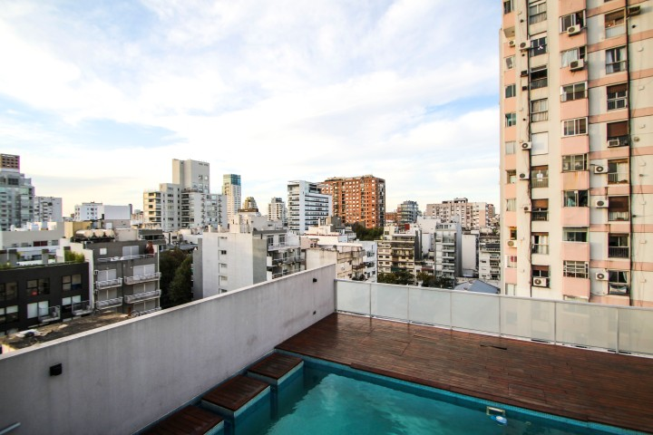Pool, rooftops and the city, Buenos Aires, Argentina